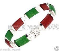 Fashion Natural Jade 18KGP Fortune Emolument Longevity Luck Clasp Bracelet