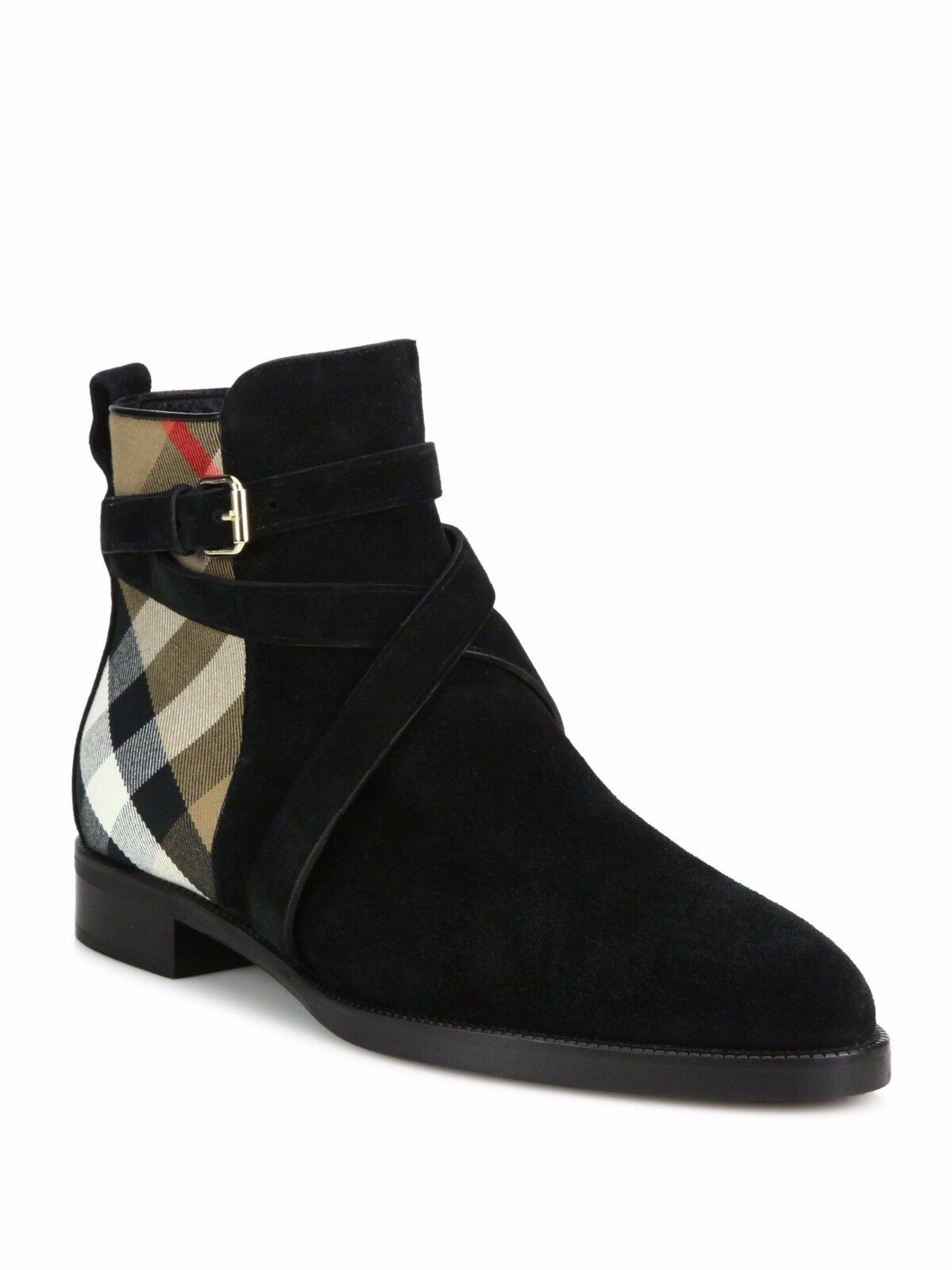 100%AUTH NEW WOMEN BURBERRY VAUGHN BLACK SUEDE CHECK BOOTS/BOOTIE /US 9.5