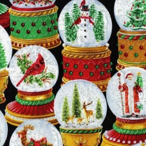 17 CHRISTMAS SNOWGLOBES FABRIC SILVER METALLIC NO