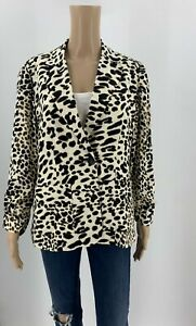 Chico-039-s-Womens-Animal-Print-Blazer-Jacket-Size-1-M-Brown-Ivory-Button-Front-J1