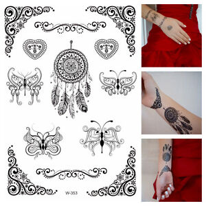 Temporary-Tattoos-schwarz-Dreamcatcher-Tribals-Schmetterlinge-Flash-Tattoo-W-353