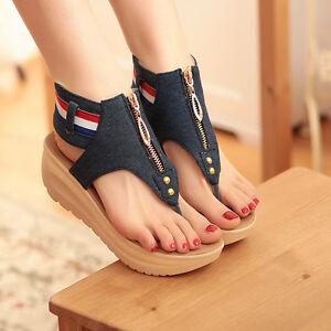 7dec81feb5f Womens Girls FLip Flops Roma Denim Thongs Summer Sandals Platform ...