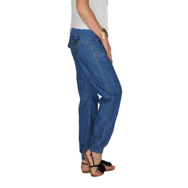 Damen Sommer Baggy Boyfriend Chino Pump Aladin Hose Röhren Jeans Röhre E110