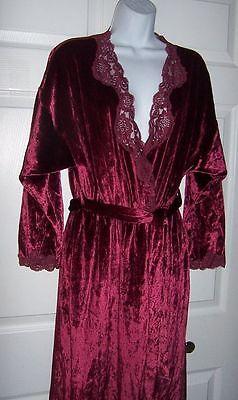 Women's Velvet Burgundy Long Robe Small to Medium Lace Trim Full Length New
