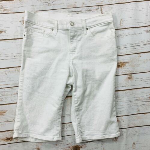 Levi Women's Shorts Jeans White Bermuda Flat Front