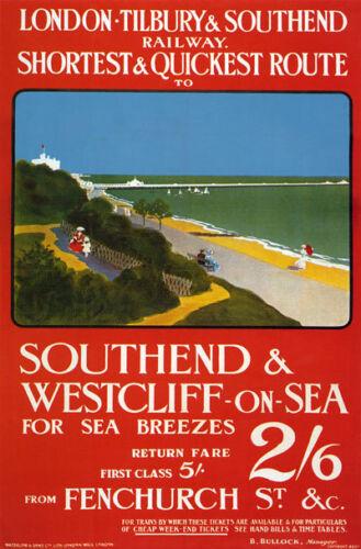 TX81 Vintage Southend /& Westcliff On Sea Railway Travel Poster Re-print A2//A3