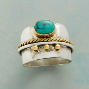 Exquisite-Two-Tone-925-Silver-Turquoise-Ring-Yellow-Gold-Filled-Wedding-Jewelry