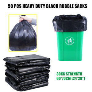 50-x-EXTRA-HEAVY-DUTY-BLACK-PLASTIC-BAGS-SACKS-BUILDERS-30kg-High-Strength-UK
