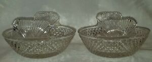 Pair-19th-Century-Diamond-Cut-Crystal-Ice-or-Butter-Tubs-w-Shell-Shaped-Handles