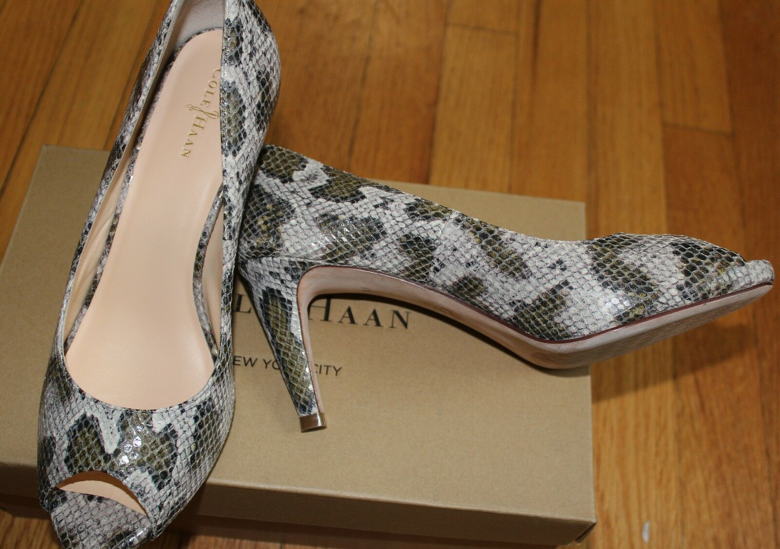 208 208 208 COLEHAAN SNAKE PRINT MARGOT OPEN TOE PUMP SZ 8B 20dc9d