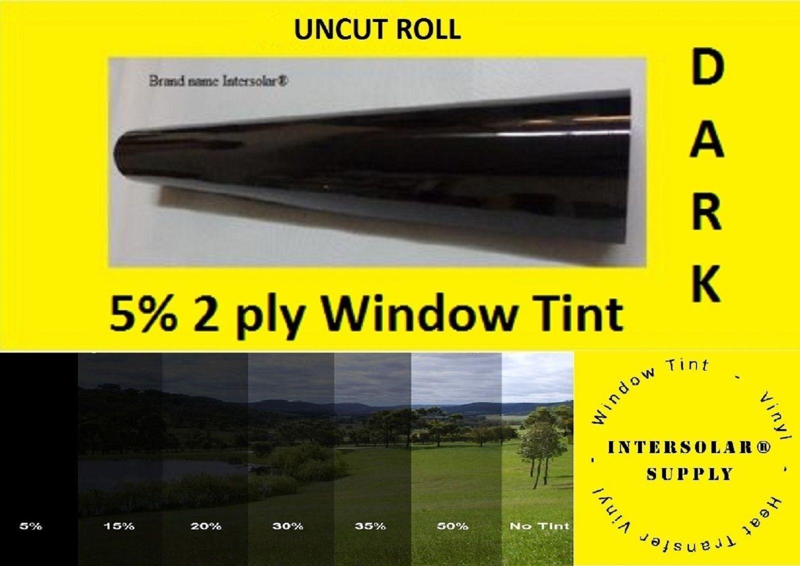 05% UNCUT 48 x 100 pies Tintado Película 2 capas 10 años de garantía Intersolar ® Usa