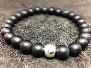 Onyx-schwarz-matt-925er-sterling-Silber-Armband-Bracelet-Perlenarmband-8mm
