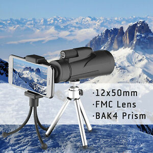 12x50-High-Power-BAK-4-Prism-Monocular-Telescope-FMC-Lens-Tripods-amp-Phone-Holder