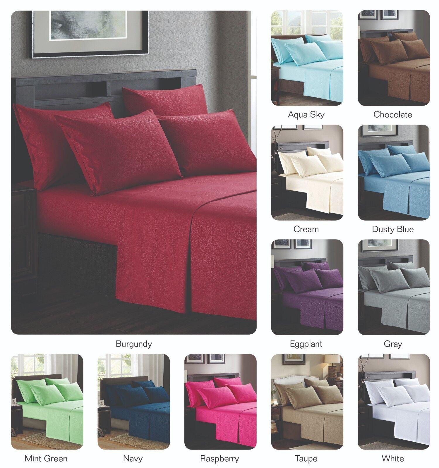 Platinum Hotel Quality Embossed King Sheet Set w  4 Pillow Cases Cream Egg Shell