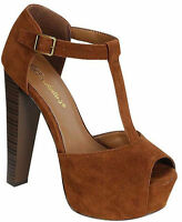 Tan High Heel T-strap Platform Peep Toe Sandal Women's Shoes Breckelle's