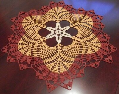 """Earth Colors 100% Cotton Generous Lovely Handmade Crochet Tablecloth Doily Round 23"""""""