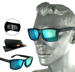 Rennec-Herren-Sonnenbrille-Carbon-Schwarz-Blau-Tuerkis-Verspiegelt-Nerd-14CB-BOX