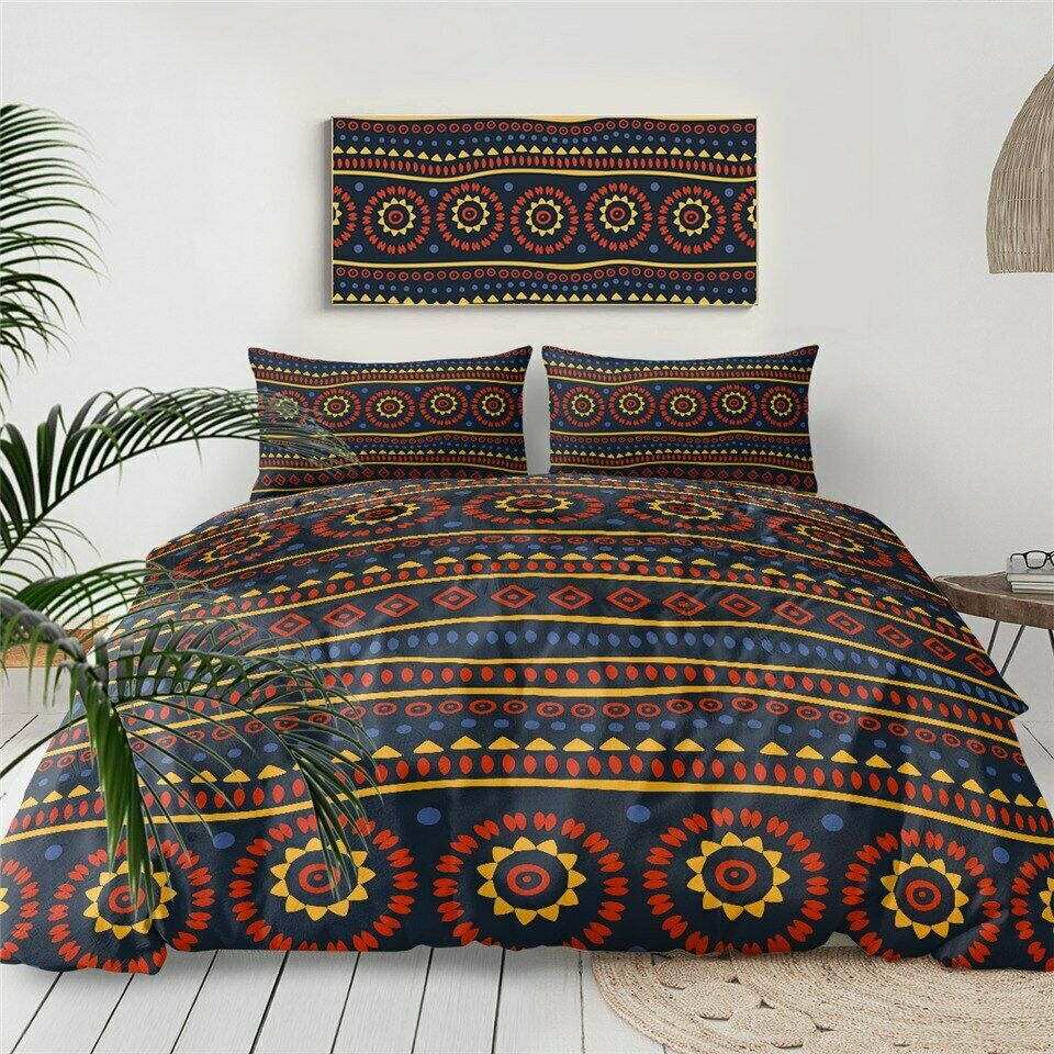 Aztec braun Tribal African Double Single Quilt Duvet Pillow Case Cover Bed Set