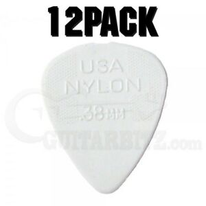 Jim-Dunlop-Nylon-Standard-Plectrum-Players-Pack-12-Pack-38-White