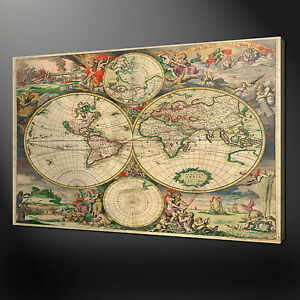 Old vintage world map canvas print picture wall art variety of sizes image is loading old vintage world map canvas print picture wall gumiabroncs Image collections