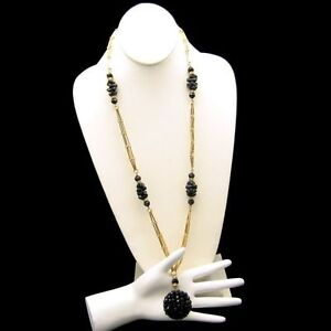 CROWN-TRIFARI-Vintage-Long-Necklace-Large-Pendant-Black-Crystal-Beads-Glass