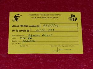Collezione-Sport-Calcio-Ticket-Pressa-Lille-Psg-4-Maggio-2002-Champ-france
