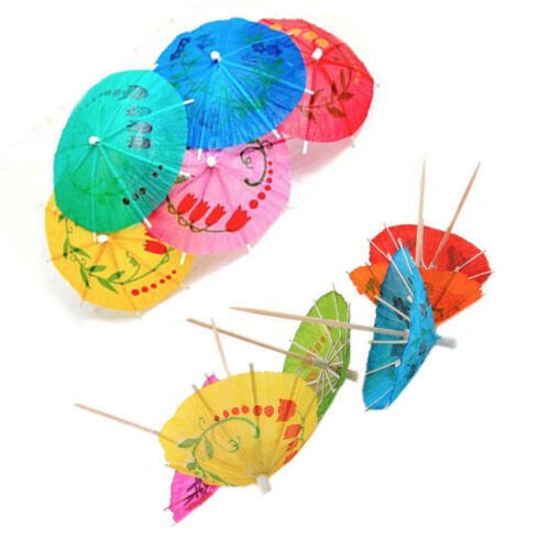 144 Cocktail Sticks Hawaiin Umbrella Party Pick Colourful Drink Decor Buffet Pik