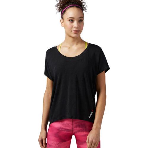 Reebok Damen One Serie Burnout Tee T-shirt Schwartz