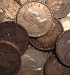 BIG-LOT-OF-SILVER-CANADA-25-10-CENTS-1-NFLD-5-CENTS-28-COINS-TOTAL