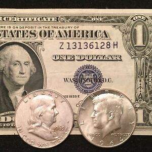 1-Silver-Certificate-Franklin-AND-Kennedy-silver-Half-Dollars