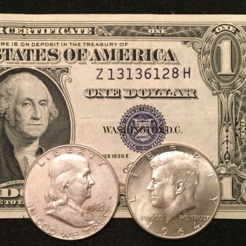 Franklin AND Kennedy silver Half Dollars! $1 Silver Certificate