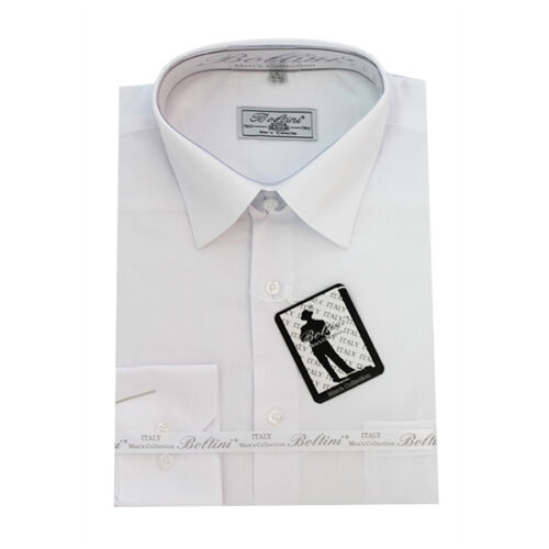 White Solid Mens Dress Shirt French Convertible Cuff Boltini Italy