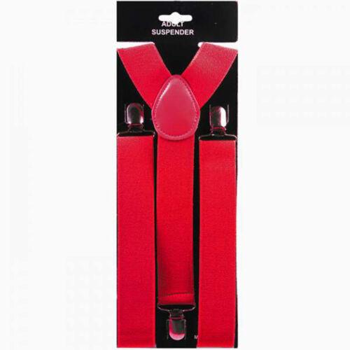 "Suspender 1.5/"" wide RED Suspender Heavy Duty Clown NEON RED PLAIN COLOR"