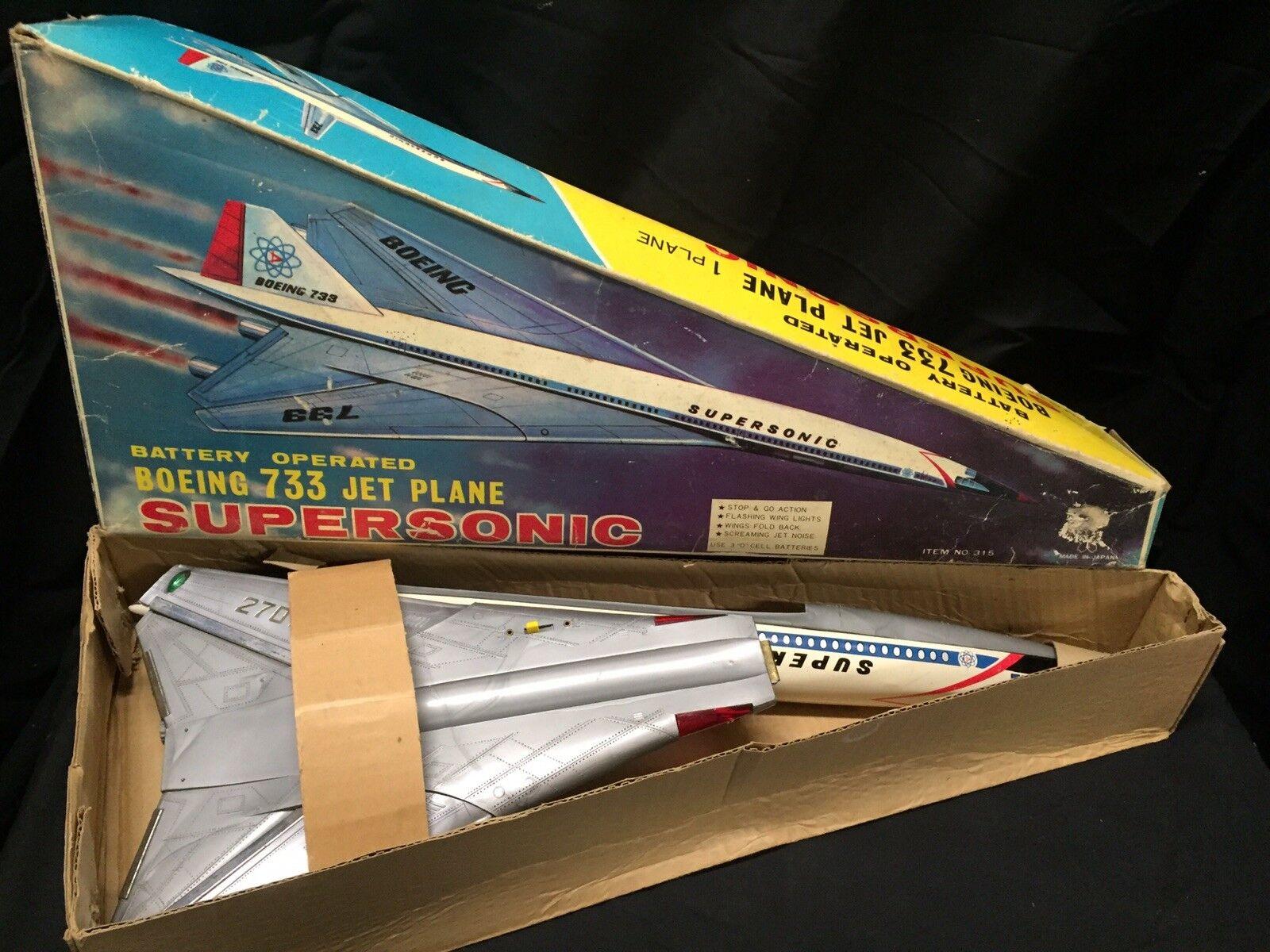 BEST Vintage Boeing 2707 733 733 733 Supersonic Jet Plane Litho Steel Battery-Op NOS MIB ef2836