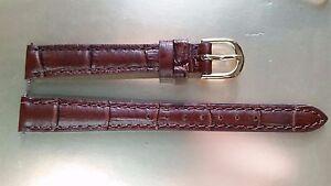 BRACELET MONTRE CUIR DE VACHETTE FACON CROCODILE   MARRON 12mm ... e82c92050b8