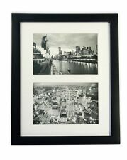 8x10 Black Photo Wood Collage Frame with REAL GLASS and White Mat (2)4x6 Photo
