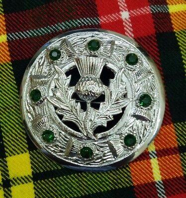 "TC kilt fly plaid broche chardon design pierre verte antique Highland broches 3 /"""
