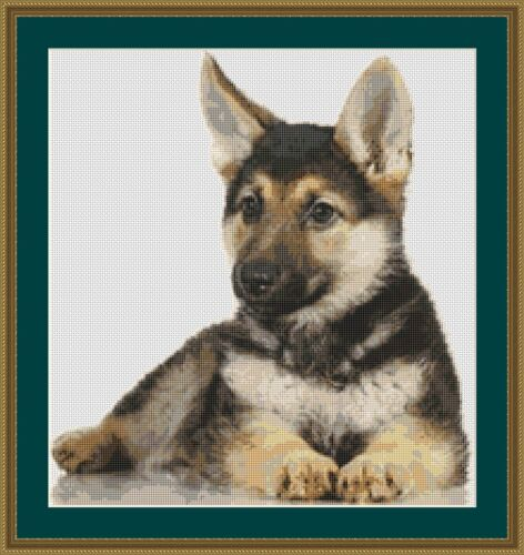 German Shepherd Alsation Dog Cross Stitch Kit