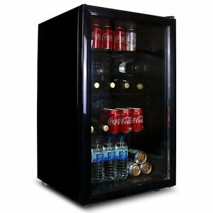 SIA DC1BL 118L Under Counter Drinks Fridge, Beer And Wine Cooler With Glass Door