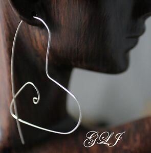 Ladies-Sterling-Silver-Heart-shaped-pierced-threader-earrings-Handmade-jewelry