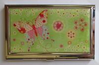 J Green Patchwork Butterfly Metal Id Holder Business Credit Card Wallet Ganz