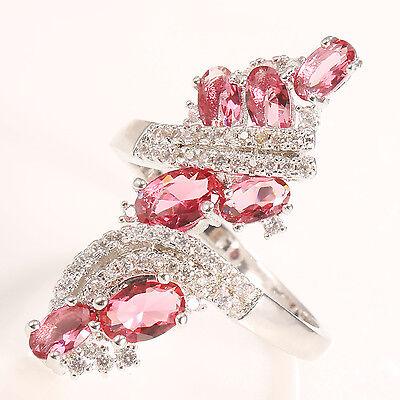 Woman Men Fashion 925 Silver 2.5CT Pink Topaz Wedding Engagement Ring Size 10