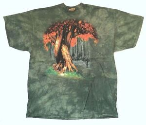 9ad3acea1e2 The Mountain Intertwined Tree Tie Dye Green T Shirt New Official ...