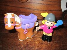 Fisher Price Little People Horse pony pink Bridle Bendable Girl Sarah Riding Toy