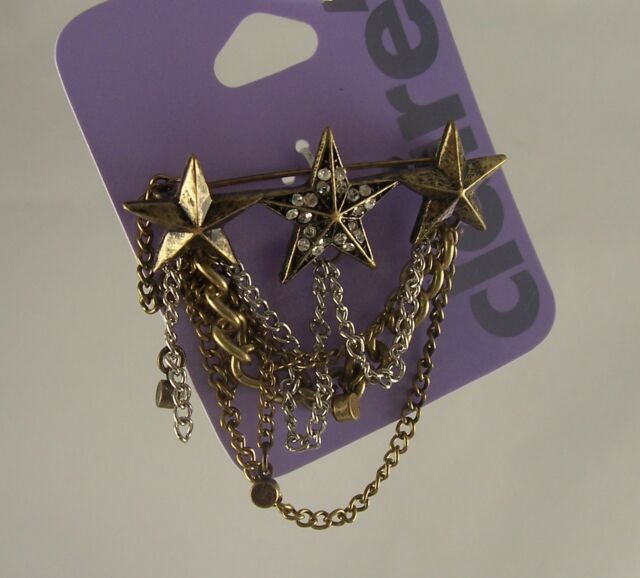3 Stars crystal pin bling dangle Claires jewelry