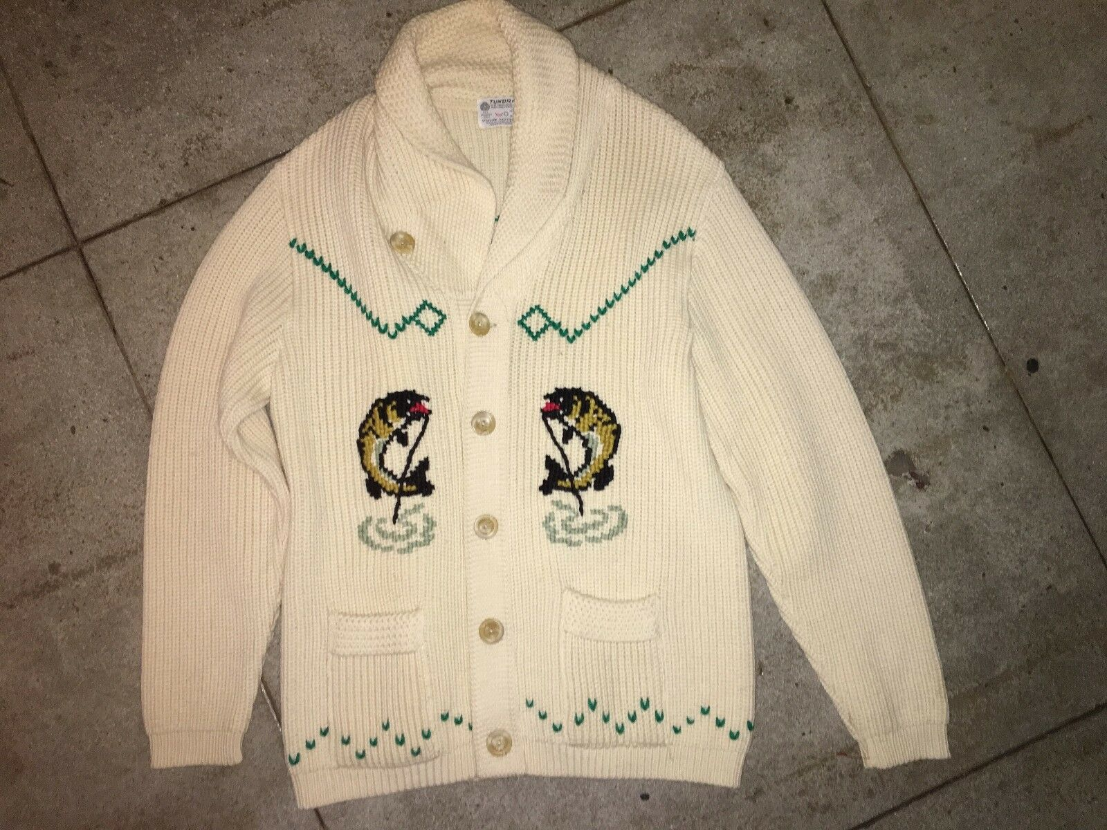 50s Cowichan Wool HAND KNIT Collar Sweater The Dude Lebowski FISHING M fish vtg