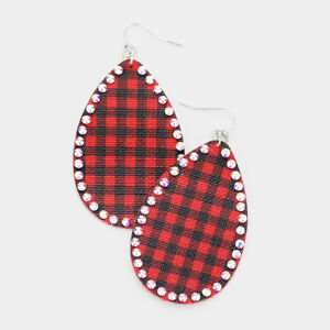 CLEARANCE Red Buffalo Plaid Glass Teardrop Stud Earrings
