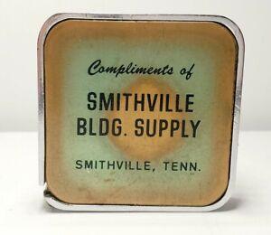 Vintage-BARLOW-Advertising-Tape-Measure-Smithville-Bldg-Supply-Smithville-TN