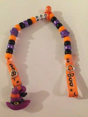 Handmade Any Name Halloween - Personalised Dummy Clips -  Purple Hat