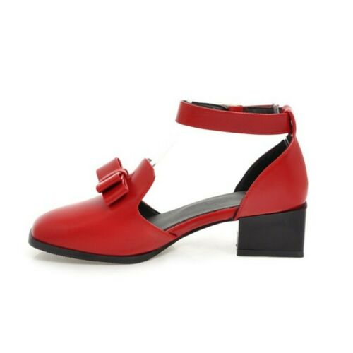 Details about  /Women Square Toe Ankle Strap Sweet Stylish Bowknot Chunky Heel Leather Shoes Hot